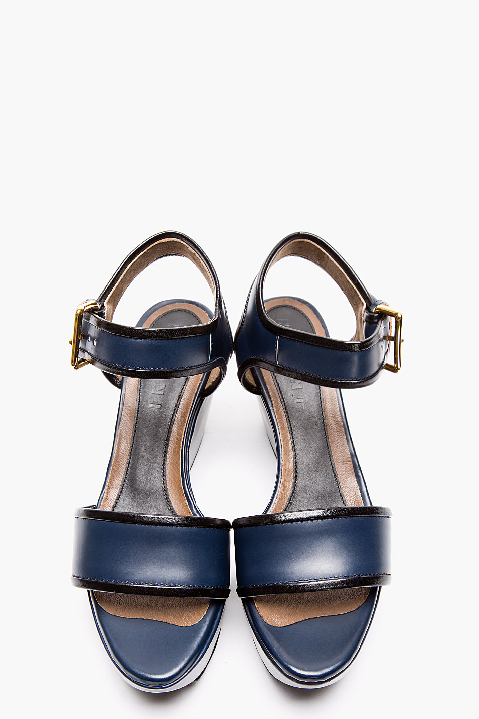 Lyst Marni Navy Leather Wedge Sandals In Blue