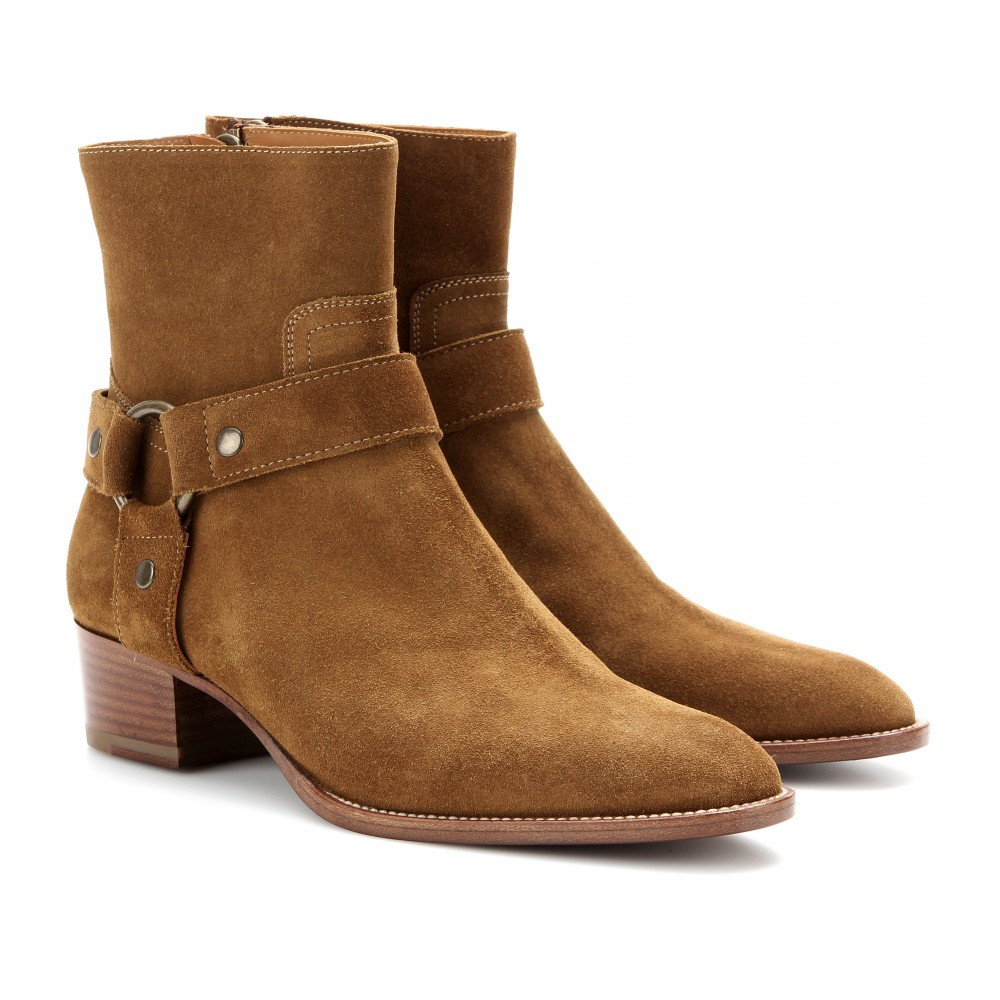 laurent rock suede ankle boots in brown lyst