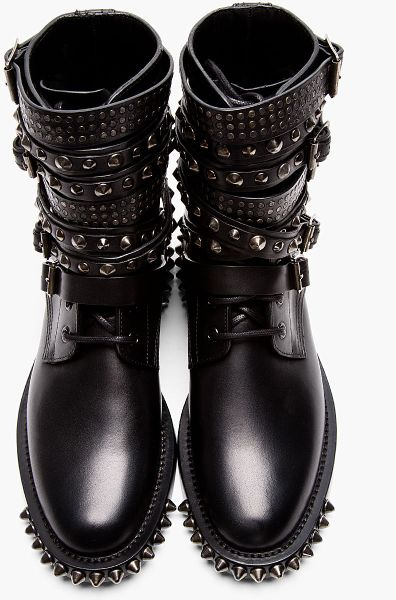 Saint Laurent Black Studded Leather Multi Strap Rangers