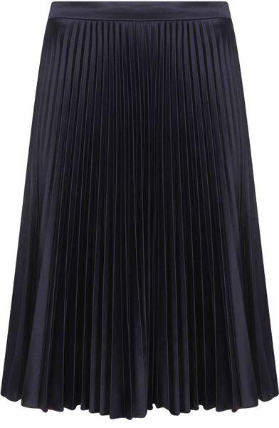 topshop navy sunray pleat skirt in blue navy blue lyst