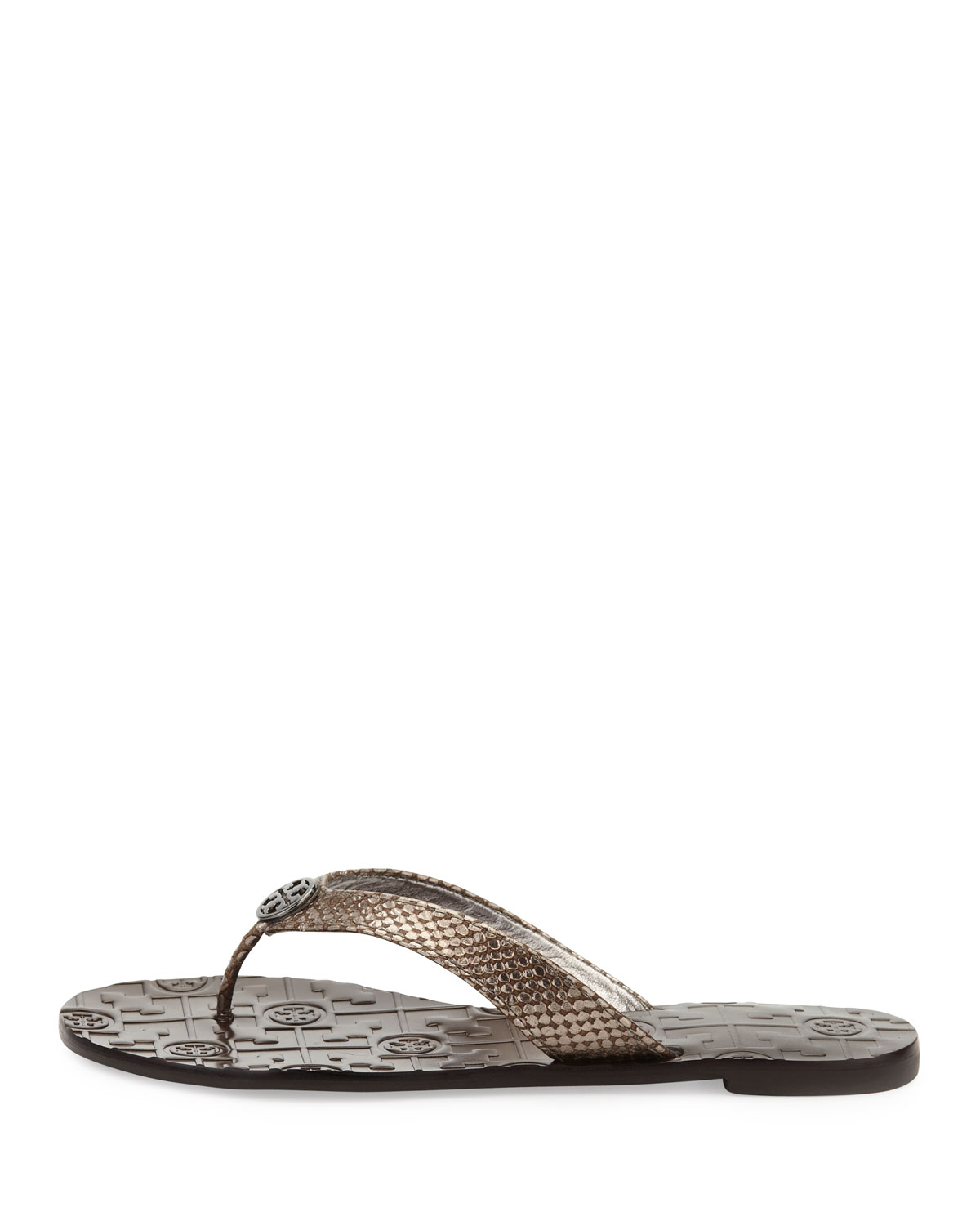 c9c91706ff14f Lyst - Tory Burch Thora Leather Snake-print Thong Sandal in Gray