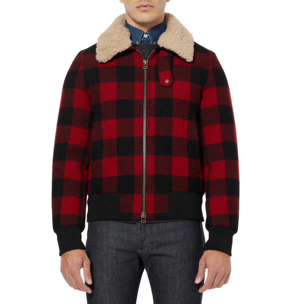 Lyst Ami Shearling Trimmed Check Wool Bomber Jacket In