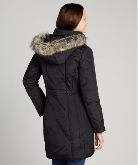 Anne Klein Black Quilted Down Filled Coat With Faux Fur