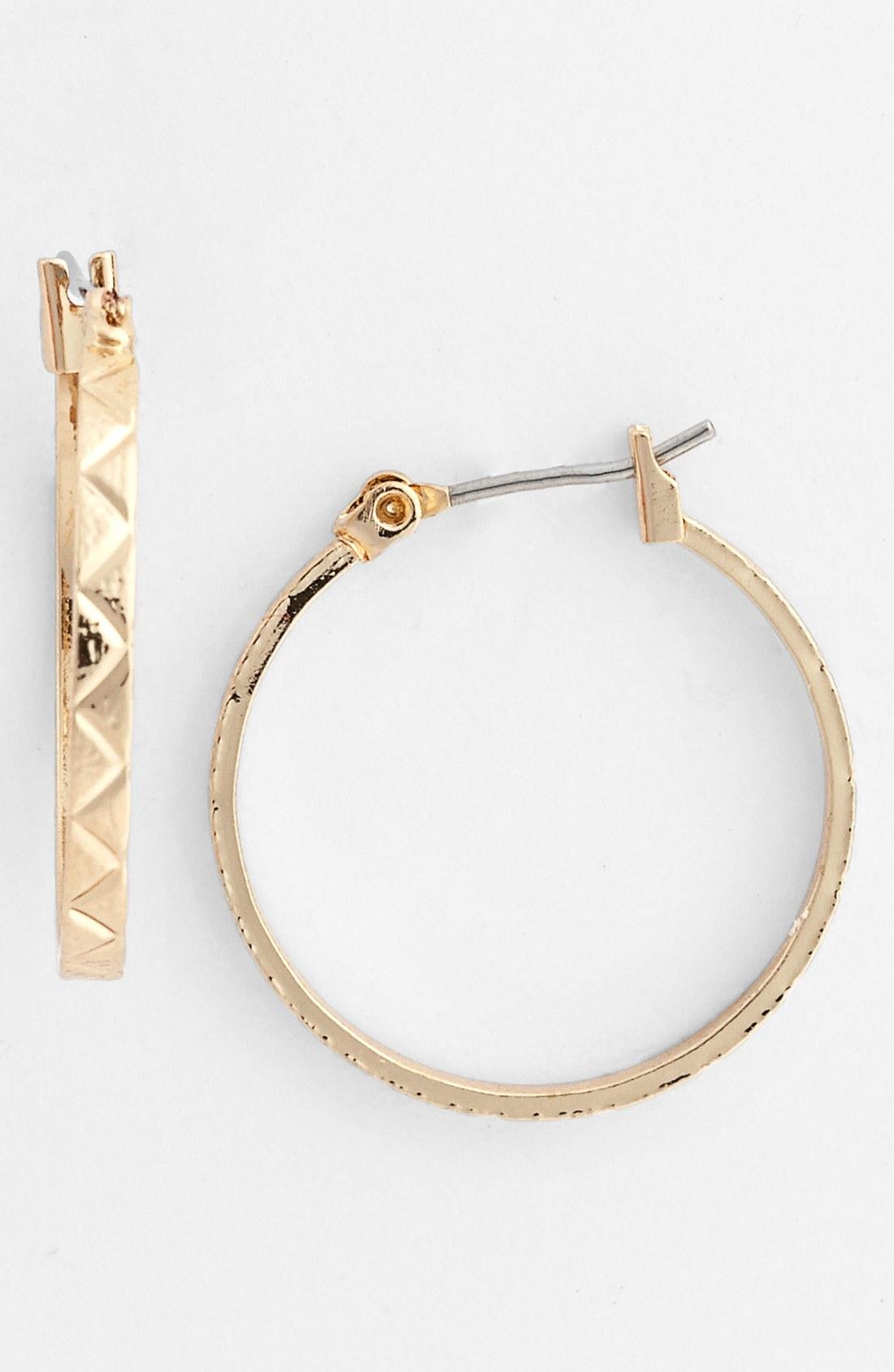 Anne Klein Small Hoop Earrings In Gold Lyst
