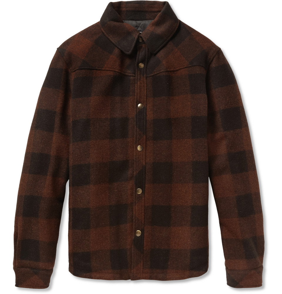 Lyst A P C Check Quilted Wool Shirt Jacket In Red For Men