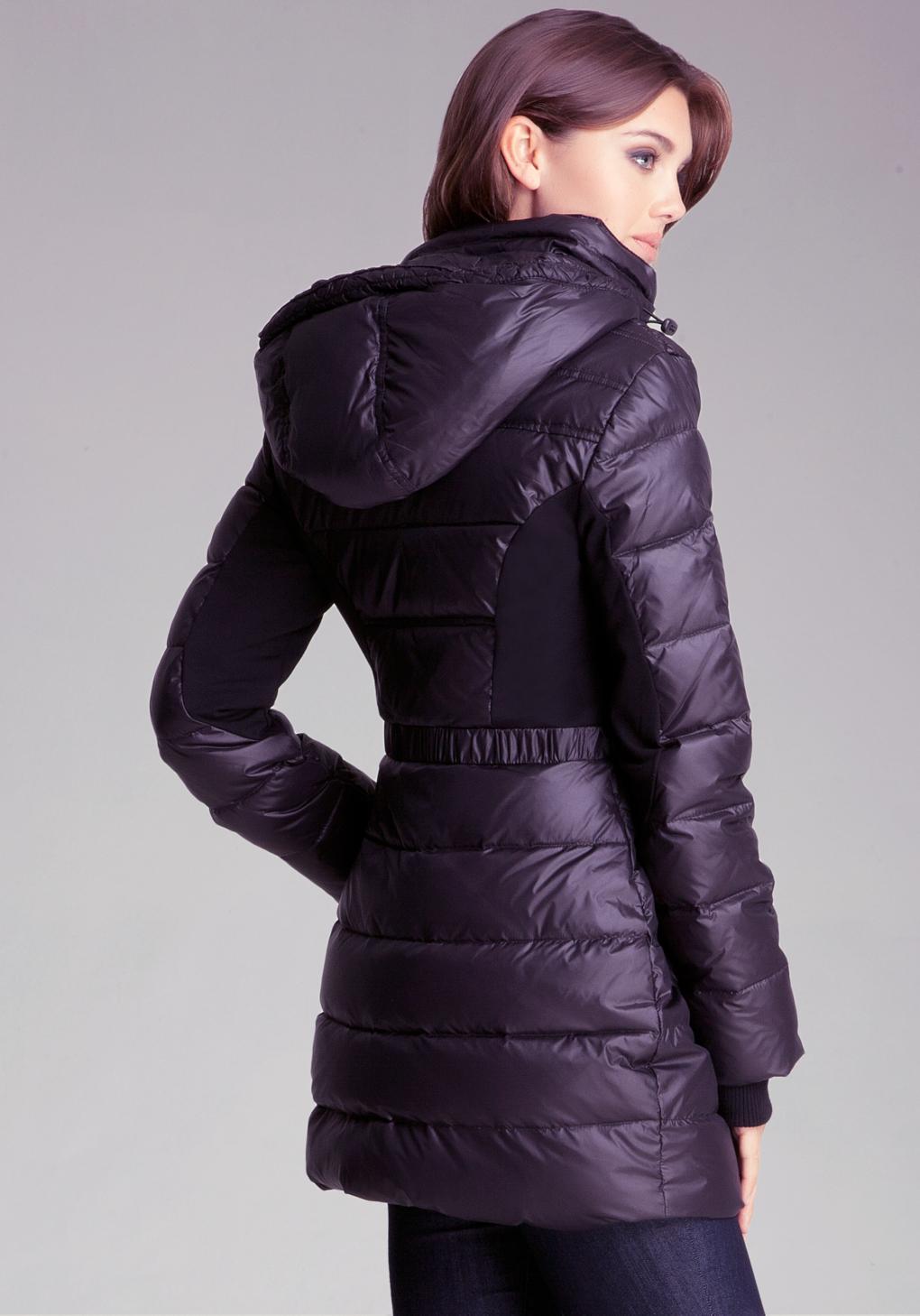 Bebe Fit Flare Puffer Jacket In Purple Lyst