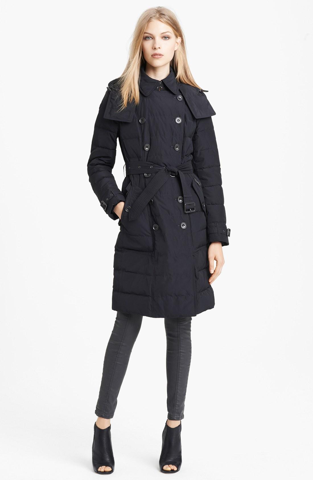 burberry brit belted down jacket in black lyst. Black Bedroom Furniture Sets. Home Design Ideas