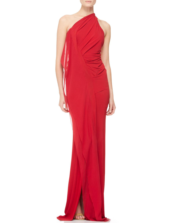Donna karan new york draped one shoulder evening gown in for Donna karan new york