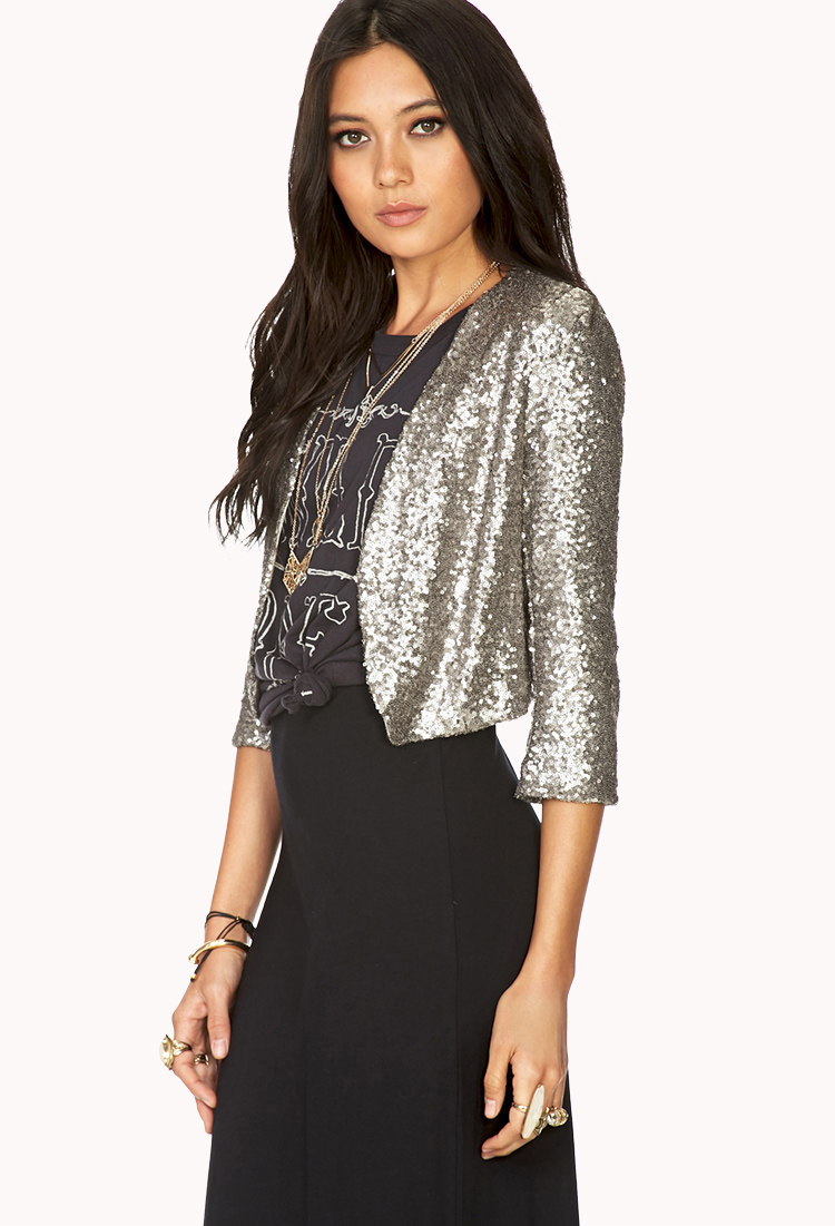 69653d7f Forever 21 Showstopper Sequin Cropped Jacket in Metallic - Lyst