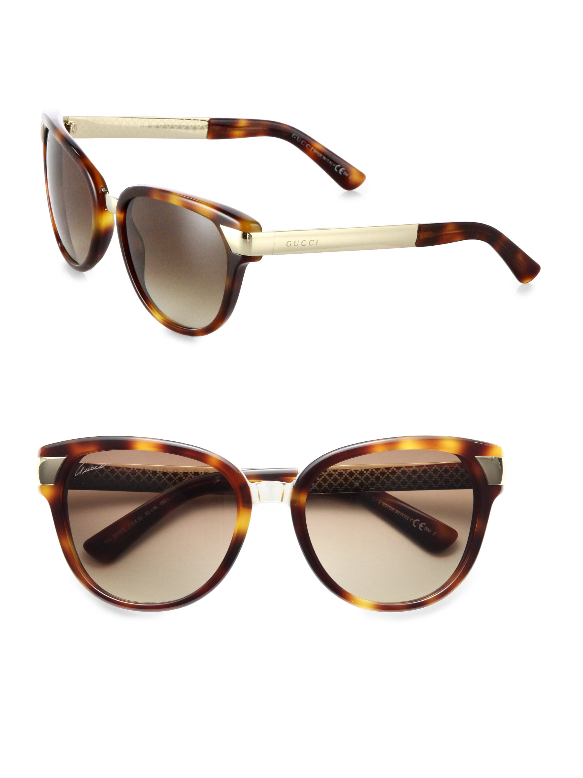 e49b82c8978 Gucci Modified Cat S-Eye Sunglasses in Brown - Lyst