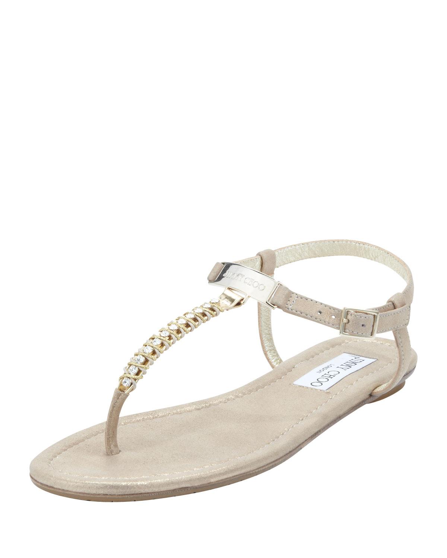 3f75cd9191715d Lyst - Jimmy Choo Nox Flat Crystal Thong Sandal Gold in Natural