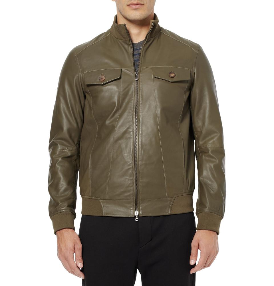 Green leather bomber jacket