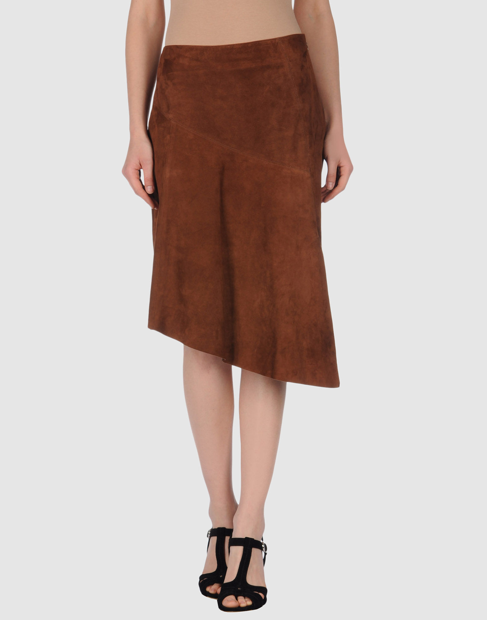 michael kors leather skirt in brown save 57 lyst