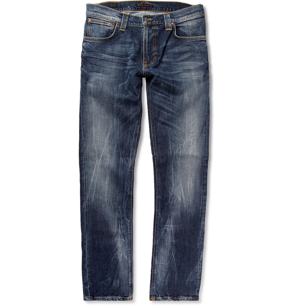 nudie jeans faded skinny jeans in blue for men lyst. Black Bedroom Furniture Sets. Home Design Ideas