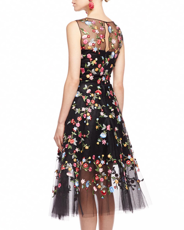 Oscar De La Renta Embroidered Floral Tulle Dress Lyst