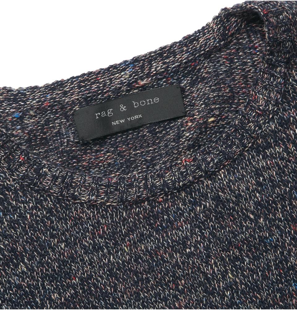 Lyst Rag Bone Braddock Flecked Linen And Cotton Blend Sweater In
