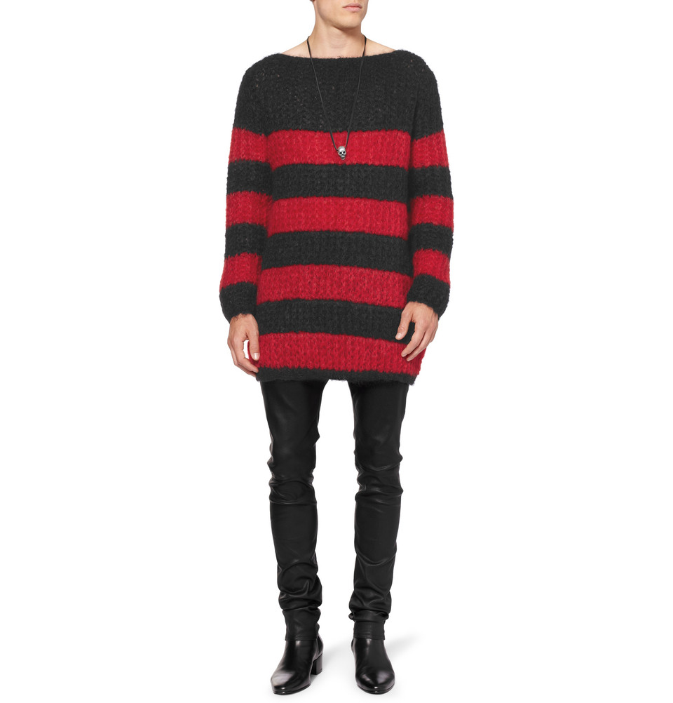 Cheap Choice Clearance 2018 oversized striped mohair wool-blend knitted sweater - Black Saint Laurent Free Shipping New Cheap Sale Huge Surprise XCr8F