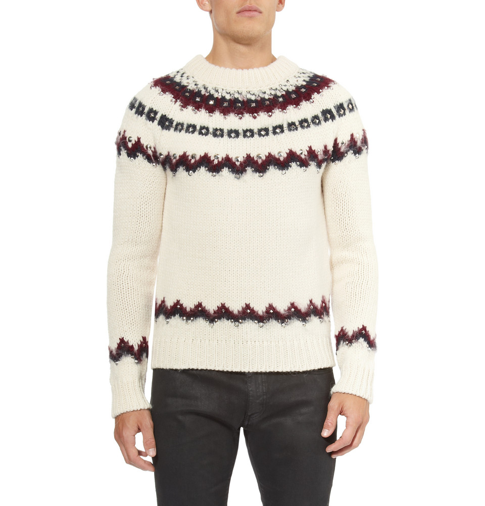 Saint laurent Metal-Studded Fair Isle Knitted Sweater in Natural ...