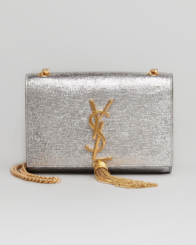 772f66ff54 Lyst - Saint Laurent Cassandre Small Tassel Crossbody Bag in Metallic
