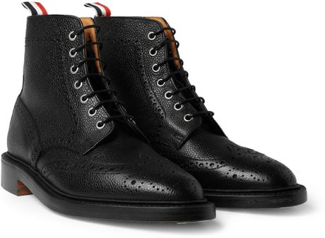 thom browne pebblegrain leather brogue boots in black for