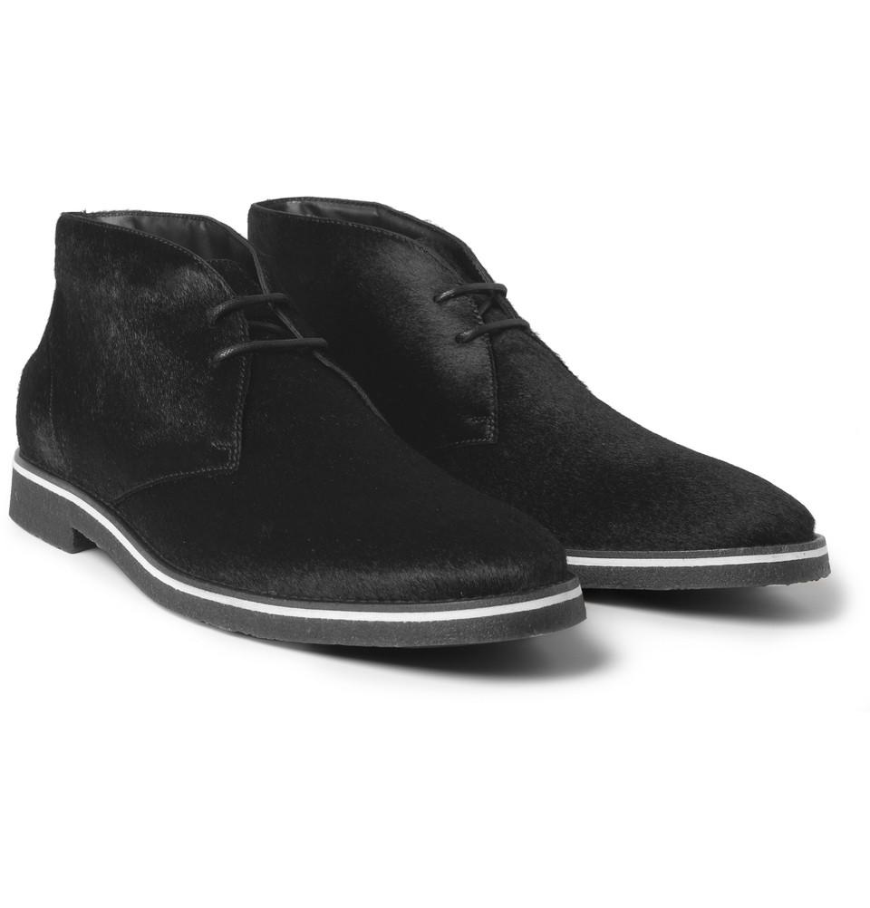 tod 39 s ponyskin desert boots in black for men lyst. Black Bedroom Furniture Sets. Home Design Ideas