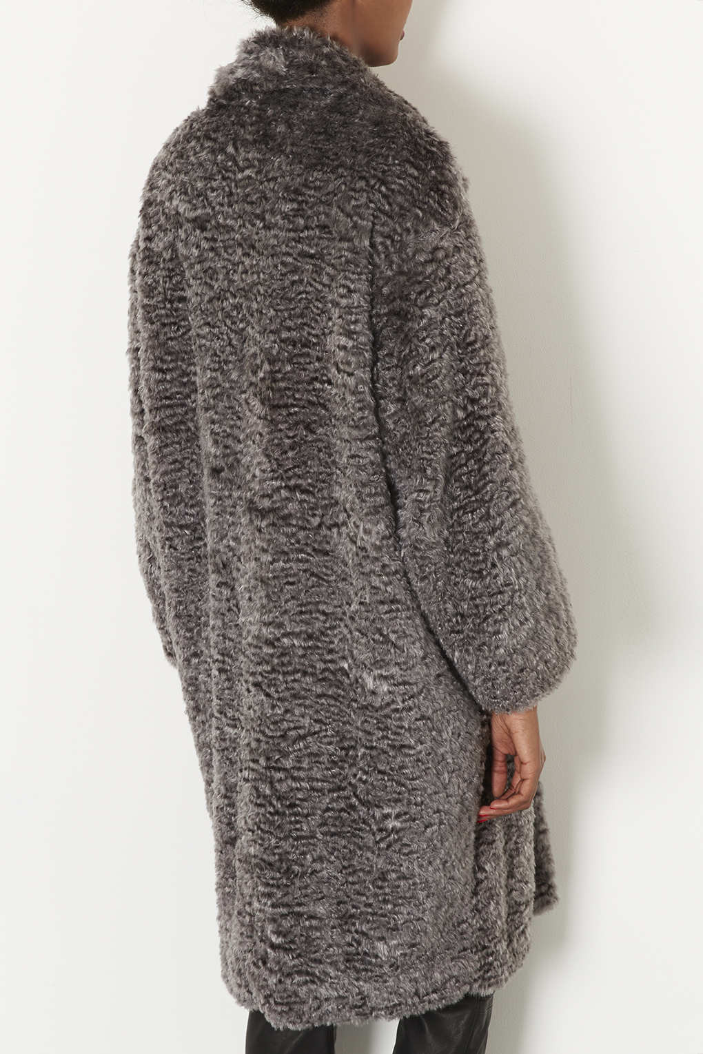 Lyst Topshop Curly Faux Fur Long Coat In Gray