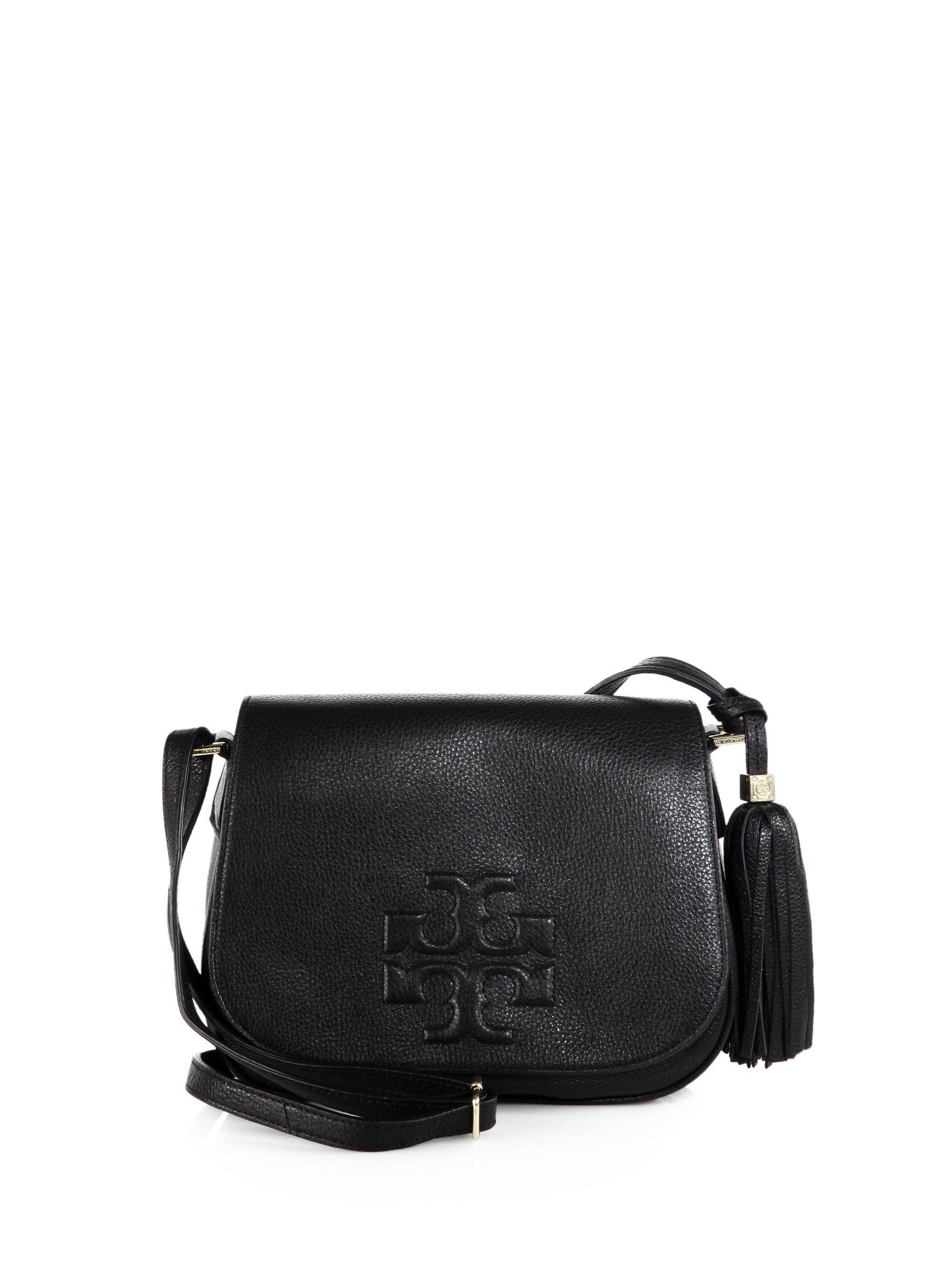 6d56ede03b9f3 Lyst - Tory Burch Thea Leather Fringe Crossbody Bag in Black