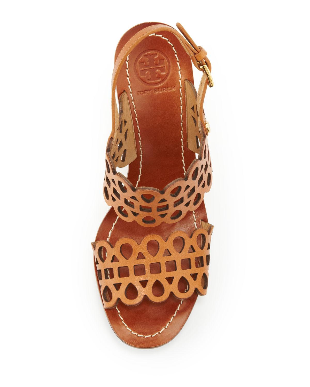 Lyst Tory Burch Nori Lasercut Wedge Sandal Vintage