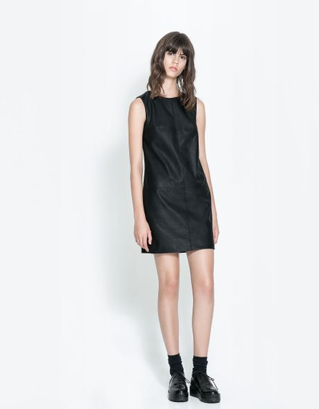 Zara Straight Faux Leather Dress In Black Lyst