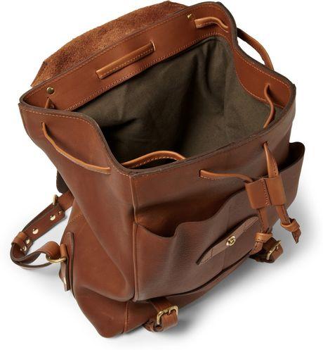 bill amberg hunter leather backpack in brown for men lyst. Black Bedroom Furniture Sets. Home Design Ideas