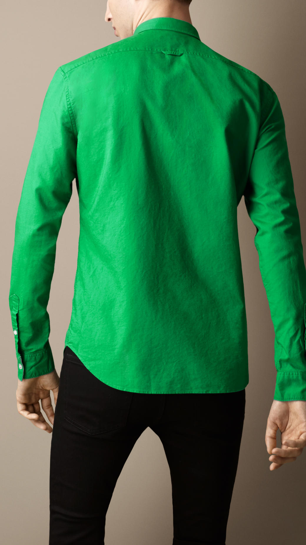 Burberry buttondown collar cotton shirt in green for men Emerald green mens dress shirt