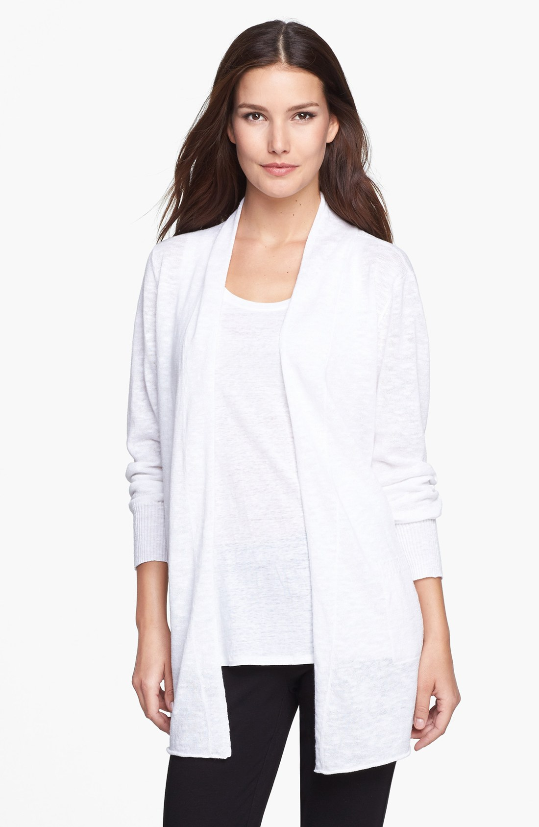 Eileen Fisher Long Cardigan in White | Lyst