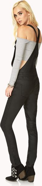 1be35749f37a Forever 21 Forever Cool Coated Denim Overalls in Black
