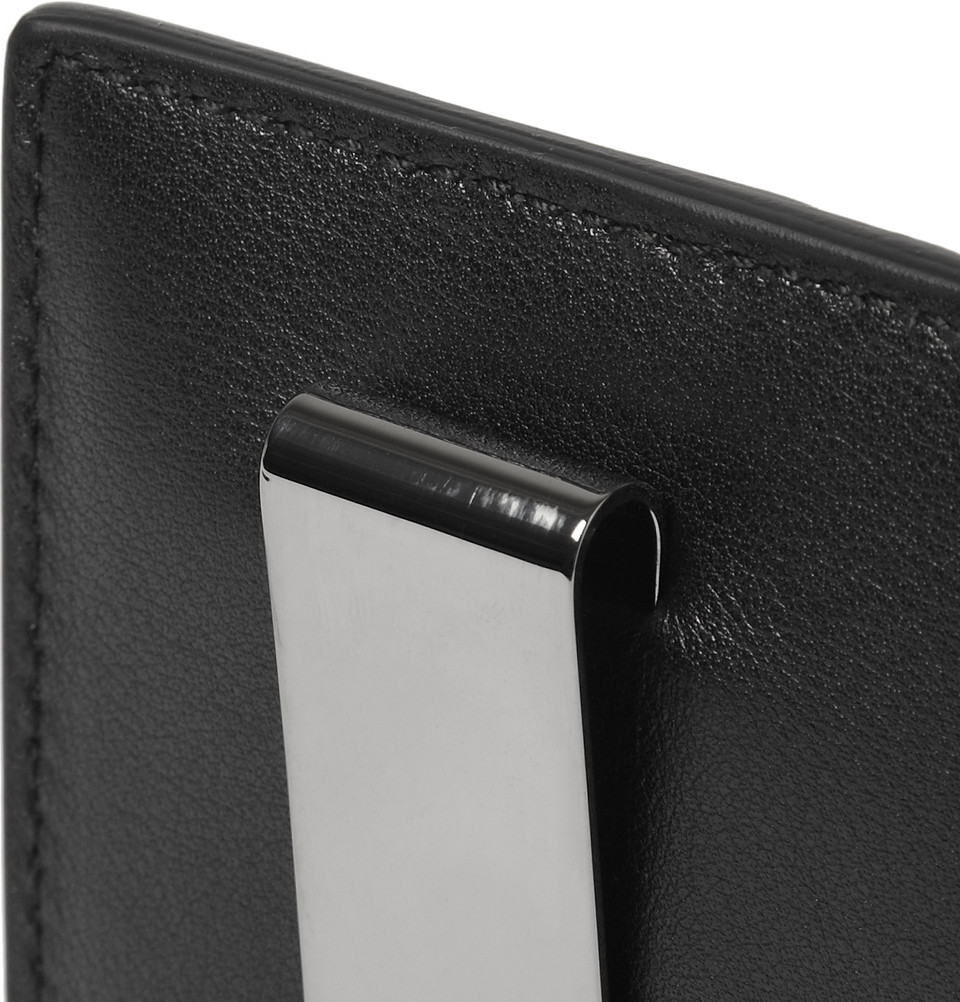 Gucci embossed leather card holder and money clip in black for men gallery magicingreecefo Images