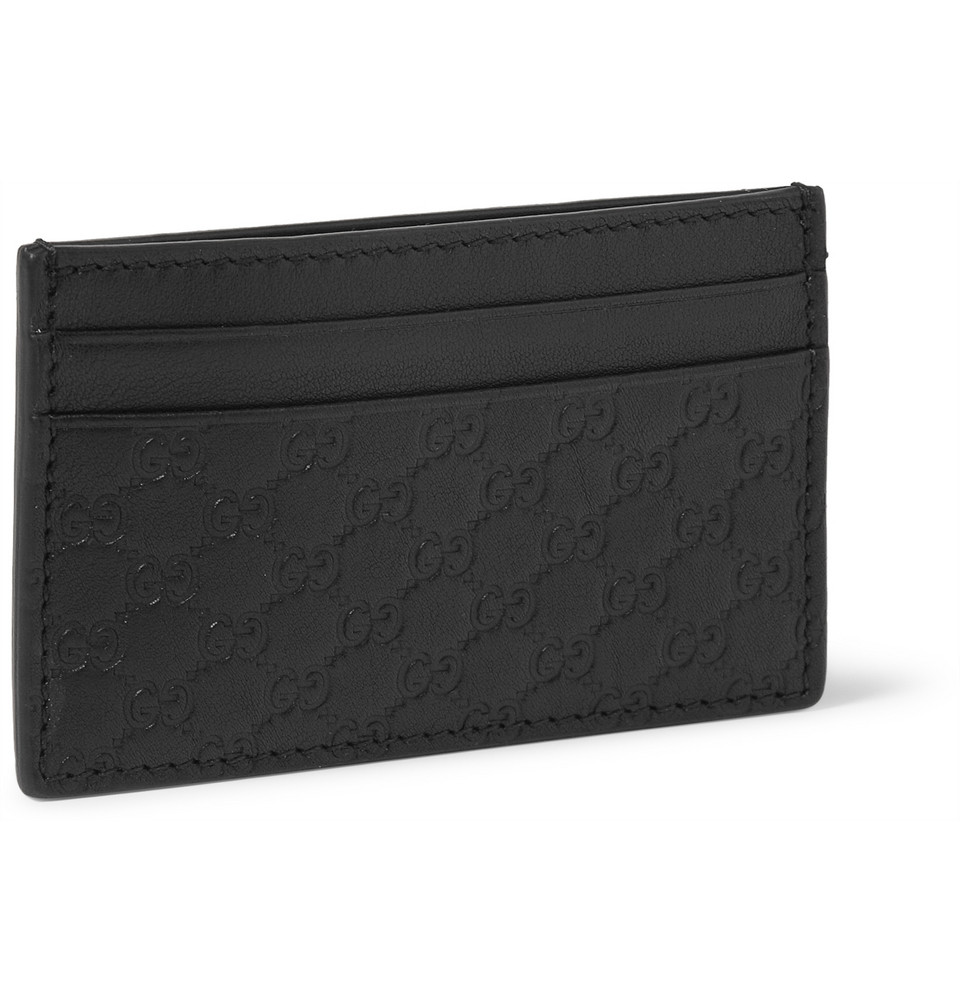 Lyst - Gucci Embossed Leather Card Holder and Money Clip in Black ...