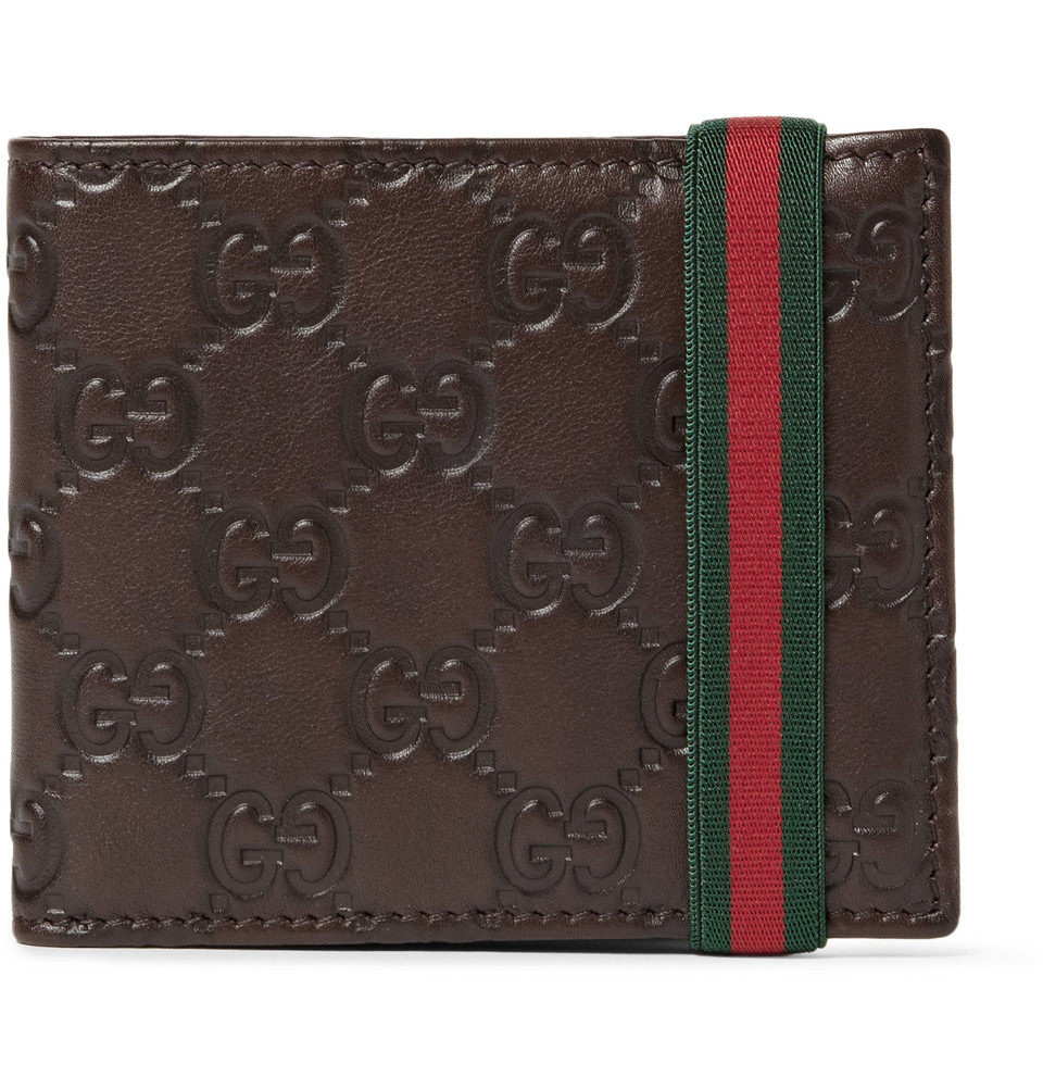 gucci ssima leather wallet in brown for men lyst