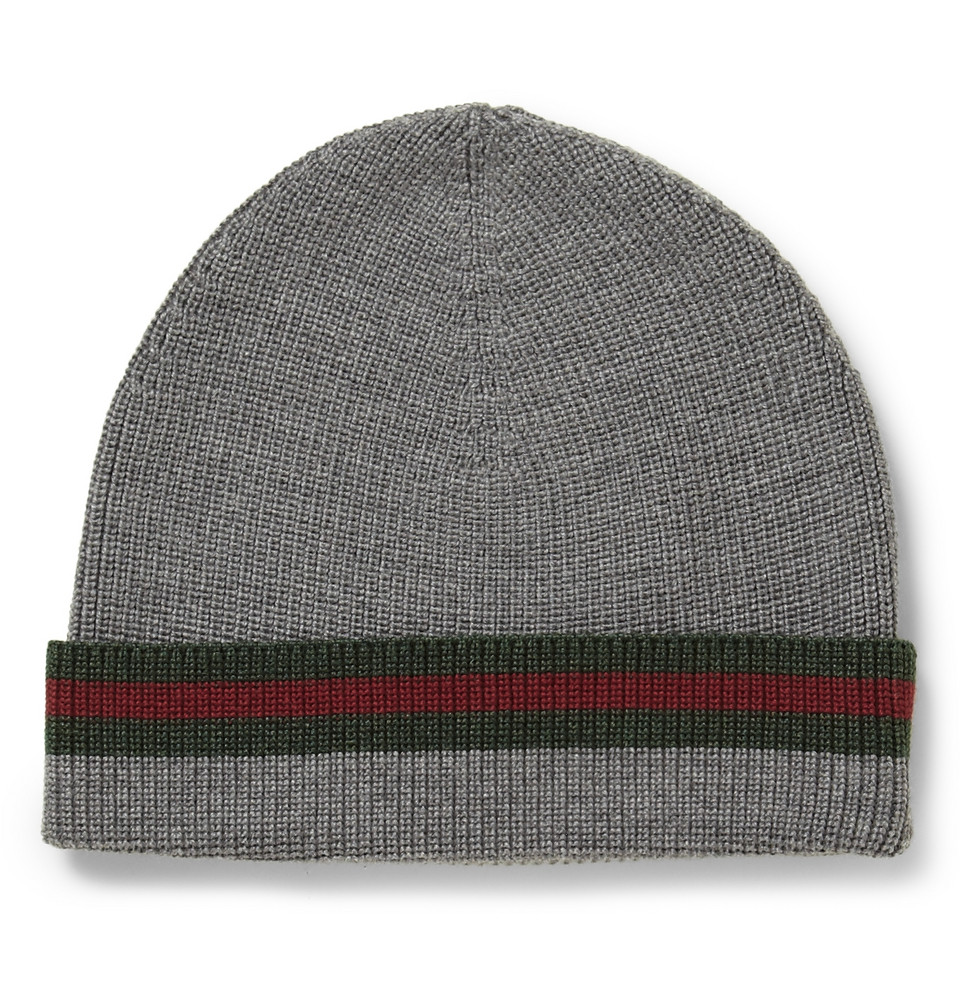 Gucci Hats For Men: Gucci Striped Wool And Silkblend Beanie Hat In Gray