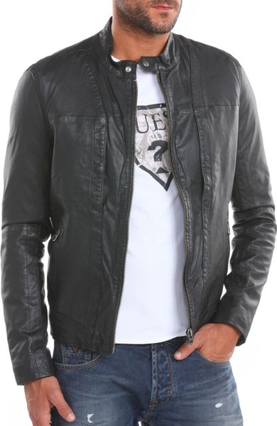 Guess Mens Leather Jacket Guess Leather Jacket