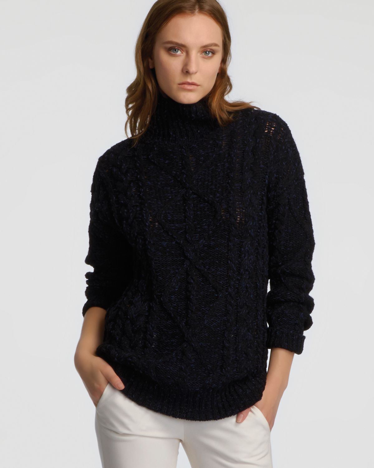 Halston Chunky Cable Turtleneck Sweater in Black | Lyst