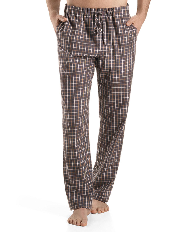 Hanro Pajama Pants In Brown For Men Saffron Check Lyst