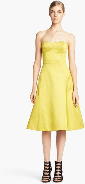 Jason Wu Duchesse Satin Aline Cocktail Dress in Yellow (Anise) - Lyst