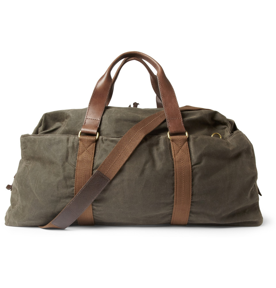 J Crew Abingdon Waxed Cotton Canvas And Leather Holdall