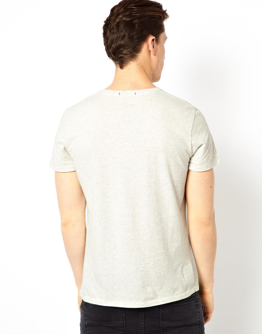 lyst pepe jeans pepe t shirt flag logo slim fit in gray. Black Bedroom Furniture Sets. Home Design Ideas