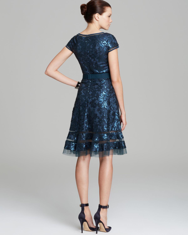 Lyst Tadashi Shoji Sequin Belted Dress In Blue