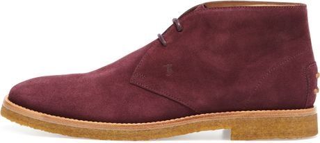Tod S Suede Two Eye Chukka Boot In Burgundy In Red For Men