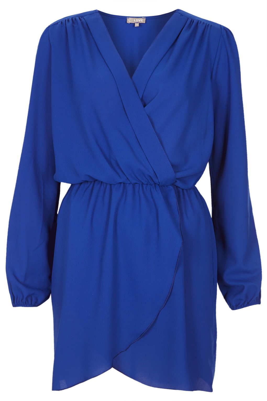 Topshop Chiffon Wrap Dress By Love in Blue | Lyst