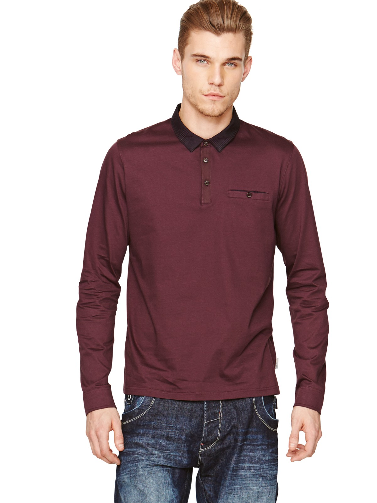 Ted baker ted baker mens chewy long sleeve polo shirt in for Long sleeve purple polo shirt
