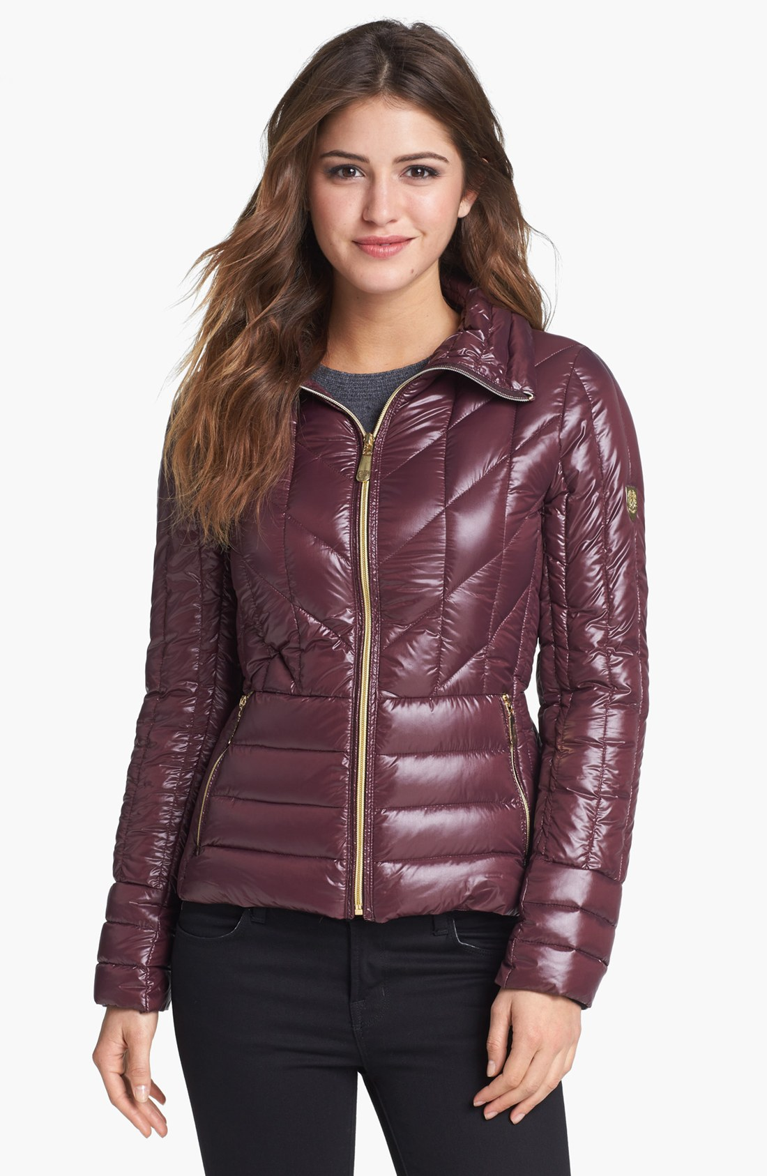 Vince Camuto Quilted Down Jacket In Purple Plum Lyst