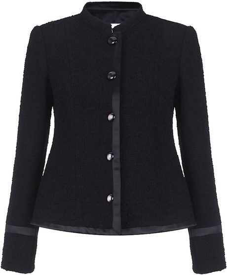 Armani Satin Trim Boucle Jacket in Black