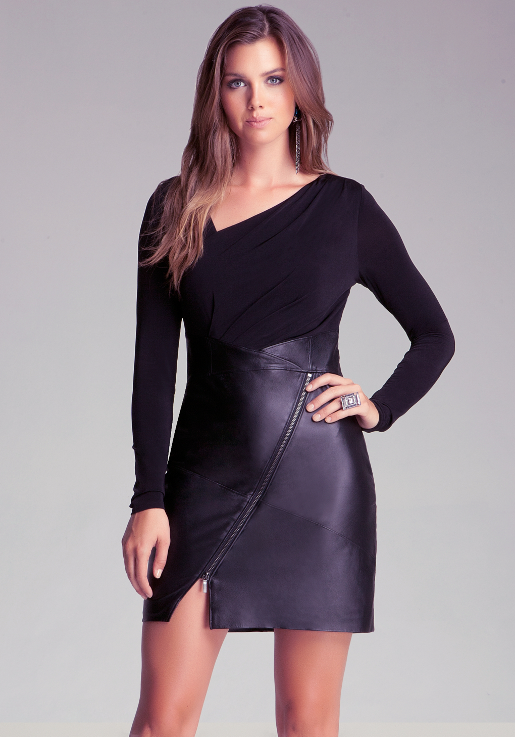 Bebe Leather Skirt Dress with Zipper in Black | Lyst